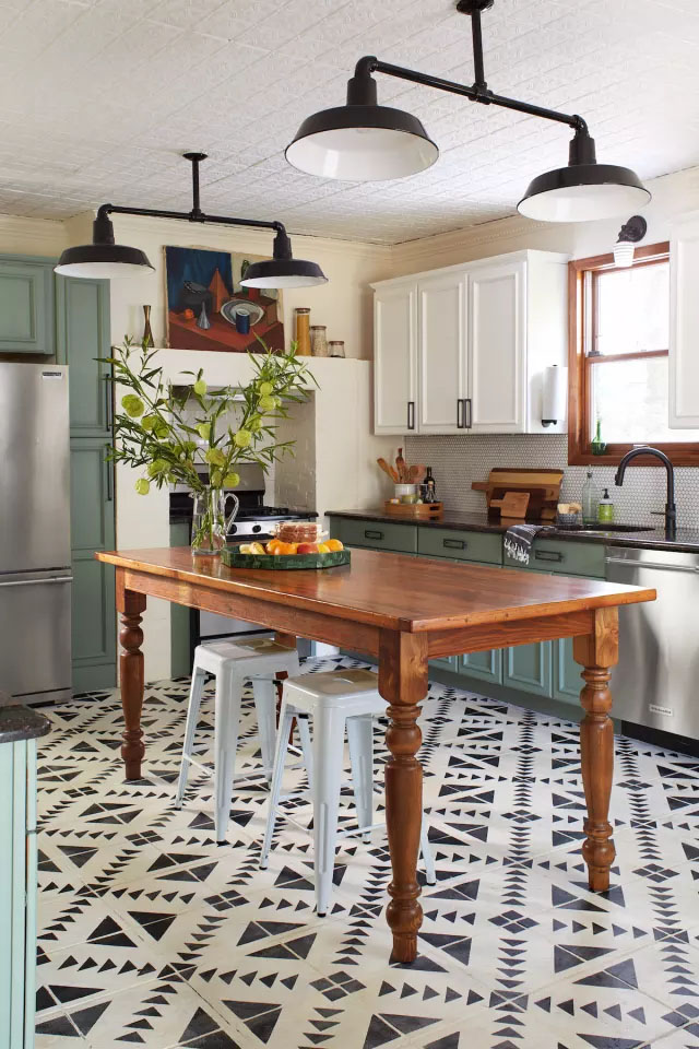 Kitchn contributor Jessica Davis painted her entire kitchen with chalk paint, even the floors, and is thrilled with the result